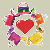 Vivid fashion women's handbag , high-heeled shoes Royalty Free Stock Image