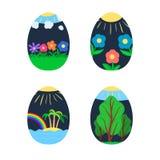 Vivid feste painted Easter eggs stock illustration