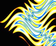 Vivid Flames. A beautiful abstract background featuring yellow and blue flames over black Stock Image