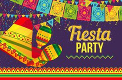 Colorful design of fiesta party card. Vivid flat style of poster about Fiesta party promotion with bright sombrero and ornamental colorful flags on purple Royalty Free Stock Photos