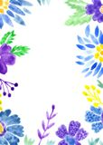 Vivid floral adorable card watercolor painting Stock Images