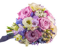 Vivid floral arrangement with mauve roses and Hydrangea Hortensis. Wedding bouquet, isolated, white background stock photography