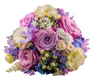 Vivid floral arrangement with mauve roses and Hydrangea Hortensis Royalty Free Stock Image