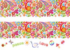 Vivid floral seamless border and hippie flowers lettering for t shirt print and other fashion design on black background. Vivid floral colorful seamless borders stock illustration