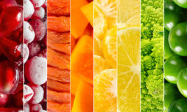 Vivid fruits and vegetables collage, blank for healthy food editions. Summer collection Royalty Free Stock Photos