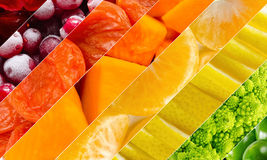 Vivid fruits and vegetables collage, blank for healthy food editions. Summer collection stock photos