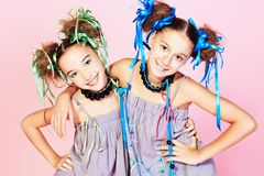 Vivid girls royalty free stock image