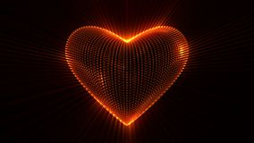 Animated glowing heart against black background. stock footage