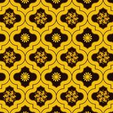 Vivid Gold decorated moroccan seamless pattern with cute floral designs. Golden decorated morocco pattern with floral designs for textile, fabric, wallpapers royalty free illustration