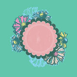 Vivid hand drawn floral frame Royalty Free Stock Images