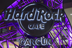 Vivid Hard Rock Cafe neon sign in CAncun Stock Photos