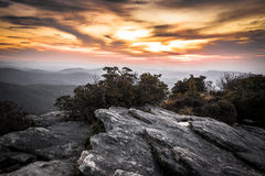 Vivid Hawksbill Morning. The early morning light during a sunrise on Hawksbill Mountain in the Linville Gorge of North Carolina royalty free stock image