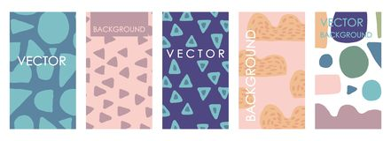 Vivid invitations and card template design. Abstract freehand vector set royalty free illustration