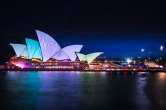 Vivid Light Show at Sydney Opera house. Sydney, Australia -May 25, 2018: Vivid Festival at Opera House in Sydney Harbour, Australia. For the 10th year Stock Photo