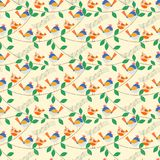 Vivid lovely tiny birds is singing on the tree branch. Seamless pattern vector of vivid lovely tiny birds is singing on the tree branch Stock Photography