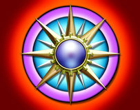 VIVID METALLIC COMPASS SUN MOTIF. A 3-D motif of a metal sun that looks like an old-world compass royalty free stock photography