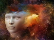 Vivid Mind. Colorful Mind series. Backdrop of human head and fractal colors on the subject of mind, dreams, thinking, consciousness and imagination Stock Photography
