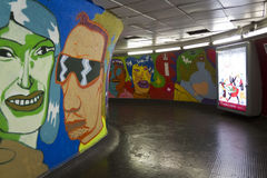 Vivid Mural in Rome metro station Stock Photography