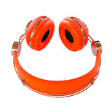 Vivid orange headphones smile Stock Images