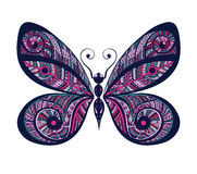 Vivid ornamental hand drawn vintage  butterfly. Stock Photos
