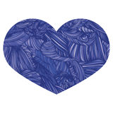 Vivid Ornamental Heart in blue. Ink drawing heart with wave patt Royalty Free Stock Photo