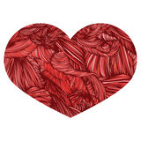 Vivid Ornamental Heart in red colors. Ink drawing heart with wav. E pattern. Doodle Style hand drawn Vintage ornate design element for Valentine`s Day or Wedding Stock Images