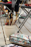 Vivid paintbrushes at the atelier Royalty Free Stock Photo