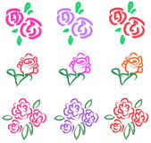 Vivid pastel roses icon in diiferent color and sty Stock Photography