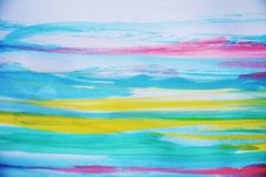 Vivid pastel watercolor background in blue violet hues. Vivid pastel watercolor strokes of brush on burnt waxy paper in violet, green and yellow hues, abstract Stock Photo