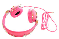 Vivid pink colorful wired headphones Royalty Free Stock Photos