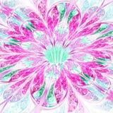 Vivid pink and green fractal flower. Digital artwork for creative graphic design Stock Image