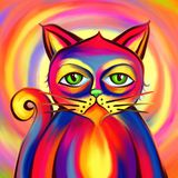 Vivid Psychedelic Cat Portrait Painting. A digitally painted vibrant and colorful cat portrait with a bored grumpy expression Stock Images