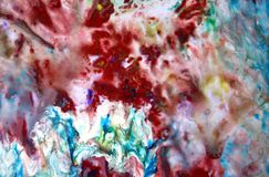 Vivid red blue colors, bright pastel paint acrylic watercolor background, colorful texture. Watercolor painting bright soft abstract background red blue white royalty free stock photos