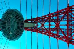 Vivid red bridge. Vivid red suspension bridge outdoor Royalty Free Stock Photos