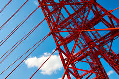 Vivid red bridge Stock Photo