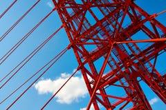 Vivid red bridge. Vivid red suspension bridge outdoor Stock Photo