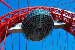 Vivid red bridge. Vivid red suspension bridge outdoor Stock Images
