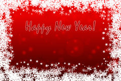 Vivid red Happy New Year greeting card background with snowflakes Royalty Free Stock Photos