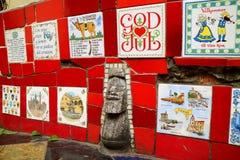 Vivid red tiles covered the whole walls of Selaron Staircase, Rio de Janeiro, Brazil stock image
