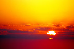 Vivid Red and Yellow Sunset or Sunrise Royalty Free Stock Photo