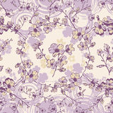 Vivid repeating floral. For easy making seamless pattern use it for filling any contours Stock Photo