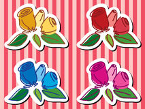 Vivid rose hand draw on red ribbon. 4 Vivid rose hand draw on red ribbon royalty free illustration