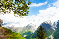 Vivid scenery from top of Mont Blanc, Alps Royalty Free Stock Photography