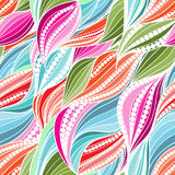 Vivid seamless abstract hand-drawn waves pattern. Wavy background. Wavy stripes with dots or bubbles royalty free illustration
