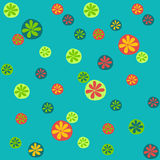 Vivid Seamless Pattern with Various Colorful Oranges on the Green Background. Royalty Free Stock Photo