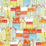 Vivid seamless pattern of watercolor medieval houses. Seamless pattern of watercolor hand drawn old medieval houses, european old town street vew. Design for royalty free stock images