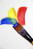 Vivid strokes and paintbrushes Stock Images