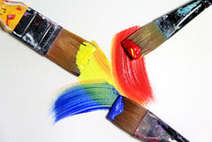 Vivid strokes and paintbrushes Stock Image