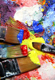 Vivid strokes and paintbrushes Royalty Free Stock Photography