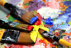 Vivid strokes and paintbrushes Royalty Free Stock Image